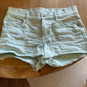 Mint Colored Boyfriend Denim Shorts